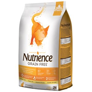 NUTRIENCE SANS GRAIN CHAT DINDE, POULET ET SAUMON 5KG